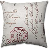 Pillow Perfect Decorative Madame French Laundry Square Toss Pillow, Linen/Red