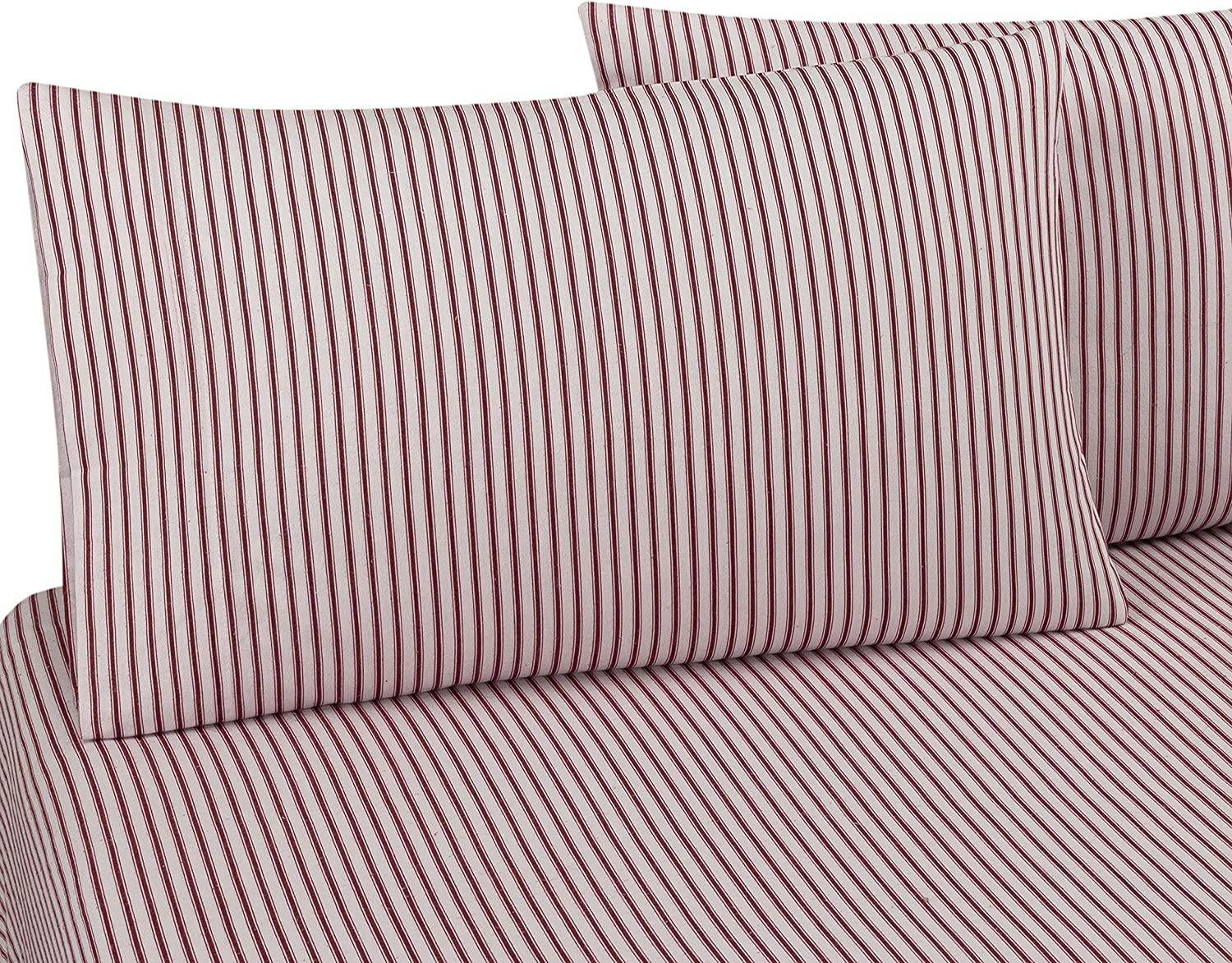 Amazon Com Delanna Flannel Sheet Set 100 Cotton Twin Red Stripe Home Kitchen