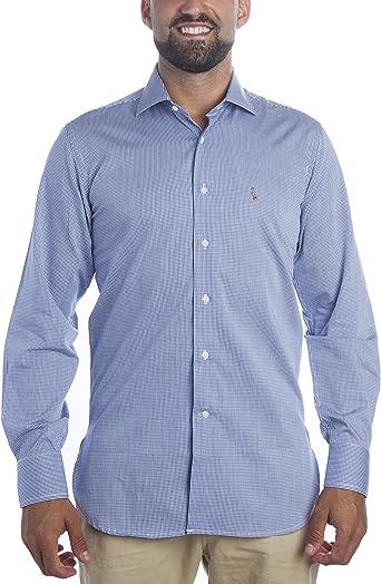 Deep Brody Camisa de Hombre Deep Snow Elegance Italia. Puro algodón con Estampado de Cuadros Azul Marino y Blanco. Cuello francés, Manga Larga y Logo ...