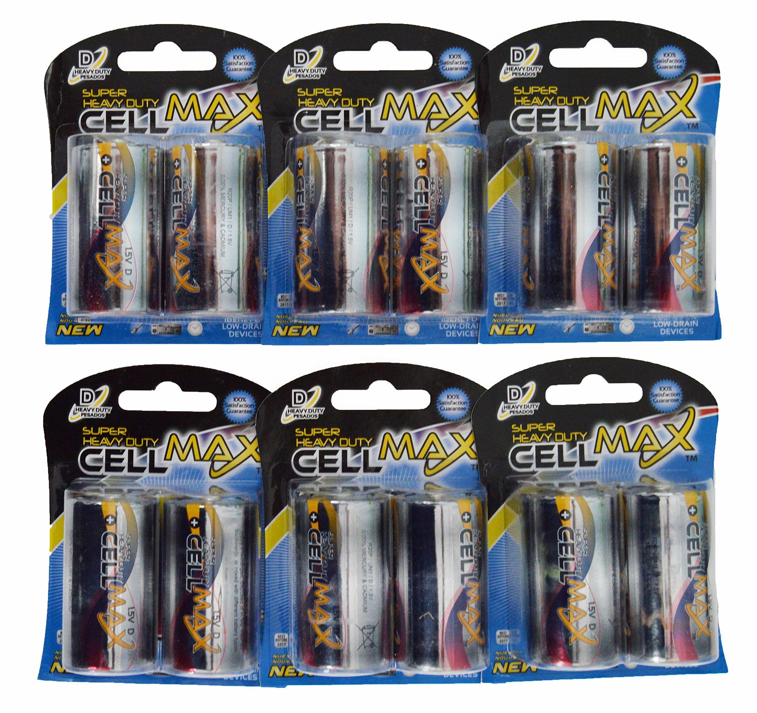 CellMax CM-R20P-BP2 - (12) Super Heavy Duty D Batteries (6, 2-Packs)