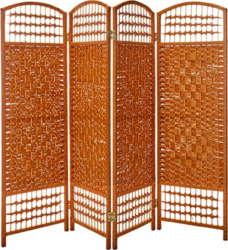 Oriental Furniture 4 ft. Tall Fiber Weave Room Divider – Light Beige – 4 Panels