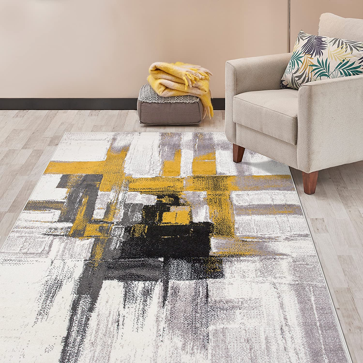 Amazon Com Rugshop Contemporary Modern Abstract Area Rug 5 X 7 Gold Furniture Decor