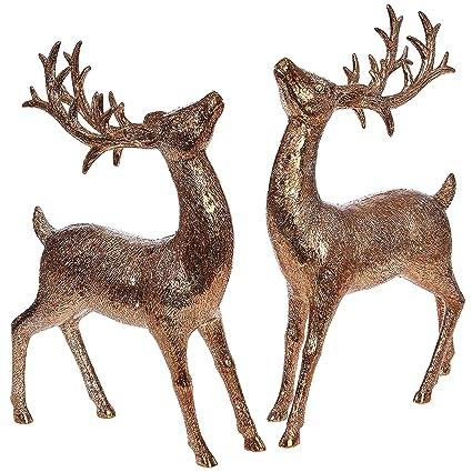 raz imports set of 2 christmas reindeer figurines 11 inch bronze glitter deer decor figures