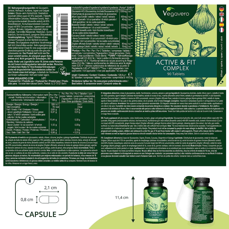 Glucosamina Vegavero® | 100% VEGETAL | Con Jengibre + Cúrcuma + Boswellia + Galangal + Cebolla | 90 Comprimidos | Sin Aditivos | Suplemento Para ...
