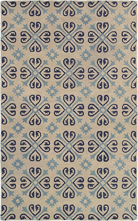 Rizzy Home Opus Collection Wool Area Rug 3 X 5 Off White Light Blue Blue Print Furniture Decor