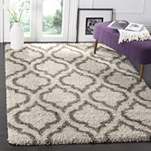 Safavieh Hudson Shag Collection SGH284A Moroccan Geometric 2-inch Thick Area Rug, 6' x 9', Ivory/Grey