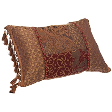 Croscill Galleria Boudoir Pillow, 20-inch by 15-inch, Red