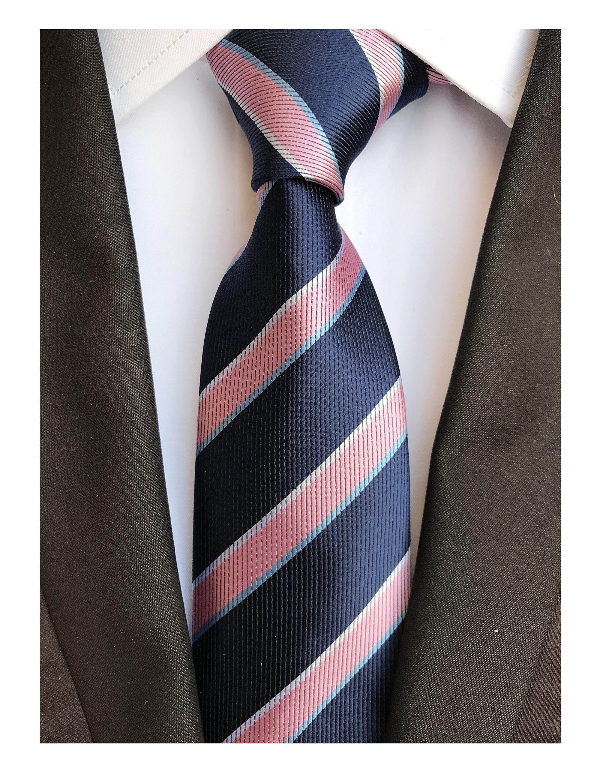 Men's Pink and Navy BLUE Ties Striped Patterned Graduation Student Silk Neckties