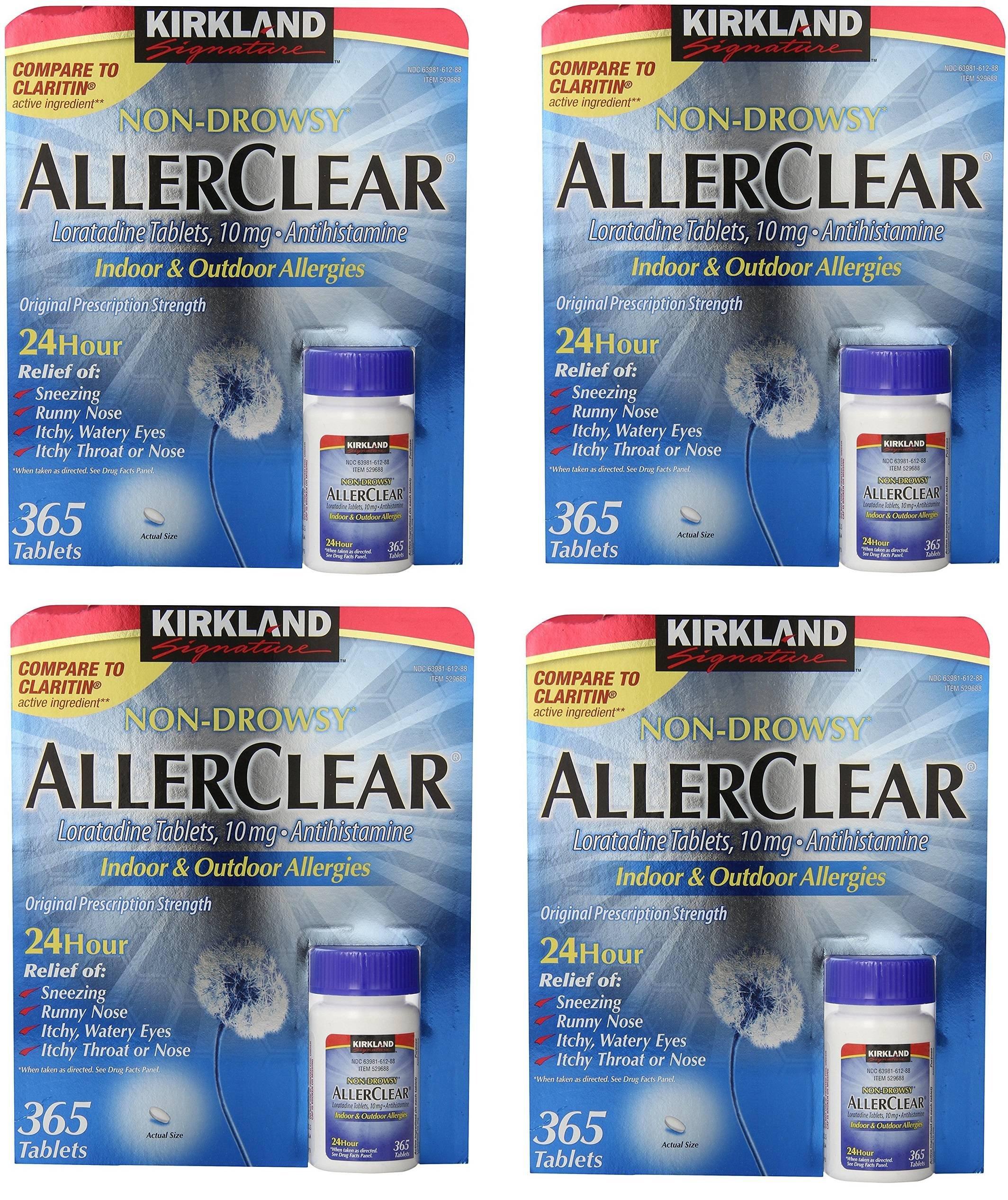Kirkland Signature Non Drowsy Allerclear Loratadine Tablets, Antihistamine, 10mg, 4 Units (365 Count) by Kirkland Signature
