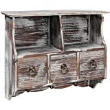 Country Rustic Brown Wood Wall Organizer Shelf Rack / Wall Cabinet w/ Drawers & Metal Hooks - MyGift