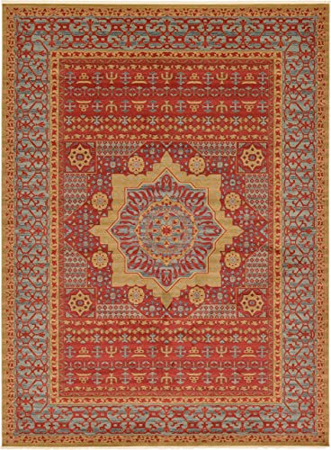 Unique Loom Palace Collection Traditoinal Geometric Classic Red Area Rug 13 0 x 18 0
