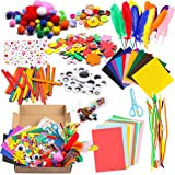 WATINC 1000Pcs DIY Art Craft Kit for Kids Creative Pompoms Pipe Cleaners Feather Foam Flowers Letters Crystal Sticker…