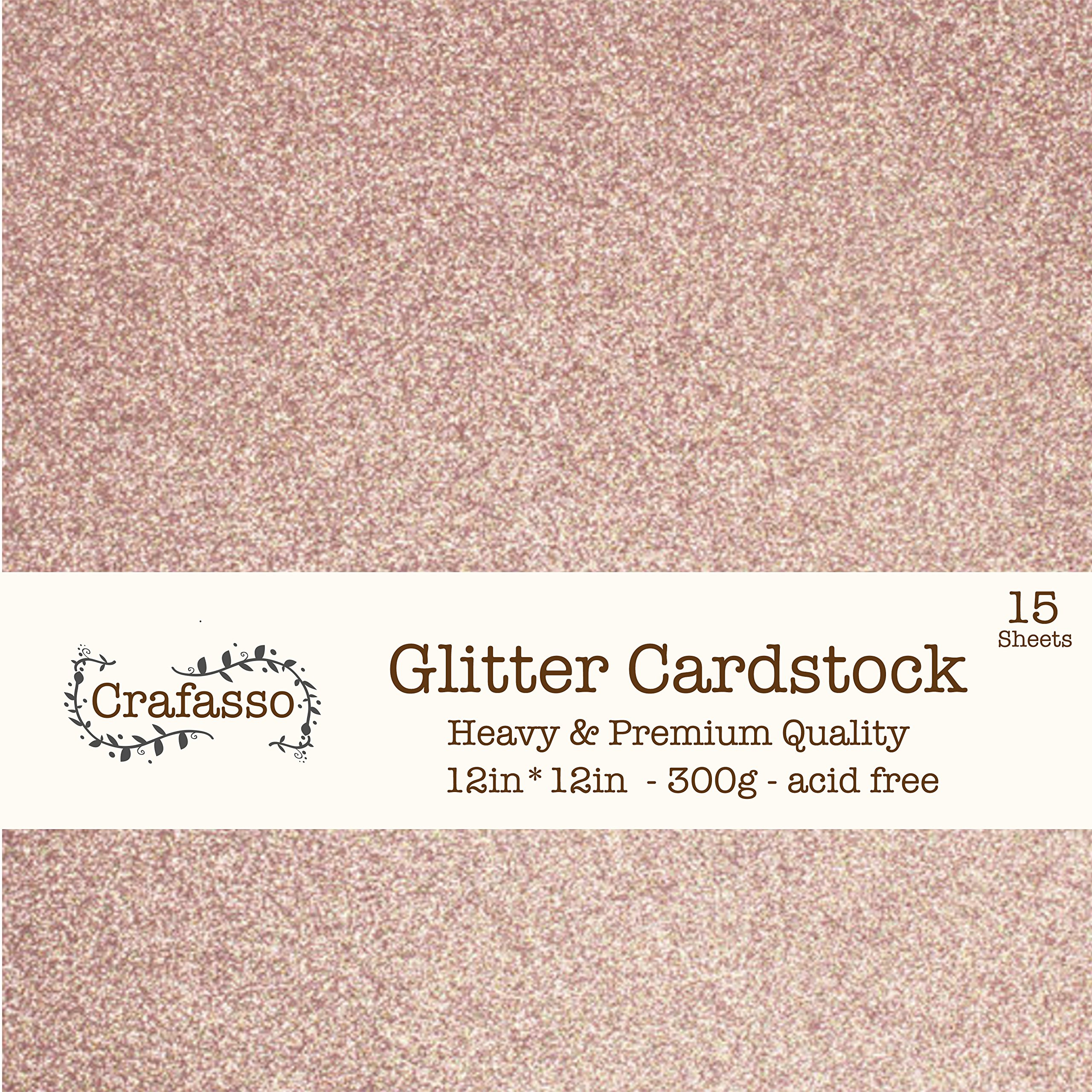 Crafasso 12'' x 12'' 300gms Heavy & Premium cardstock, 15 Sheets, Rose Gold