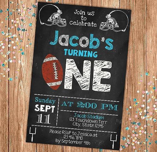 amazon com football chalkboard style birthday invitation blue all