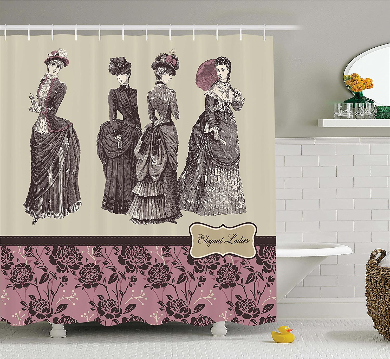 Ambesonne Victorian Shower Curtain Ladies Clothes Fashion History Dress Handbag Feather Gloves Floral Design Print Fabric Bathroom Decor Set With Hooks