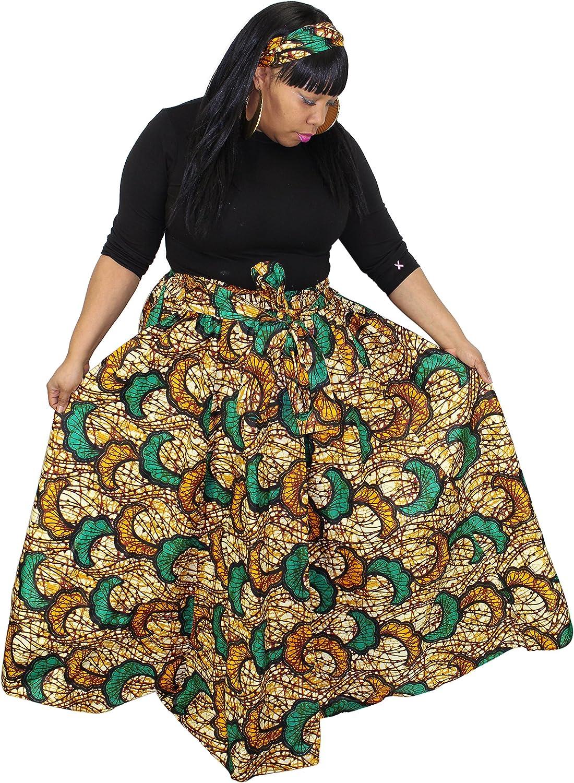 Peach and Brown Ankara Lapa African Wax Maxi Skirt Ankara Wrap Skirt Made to Order