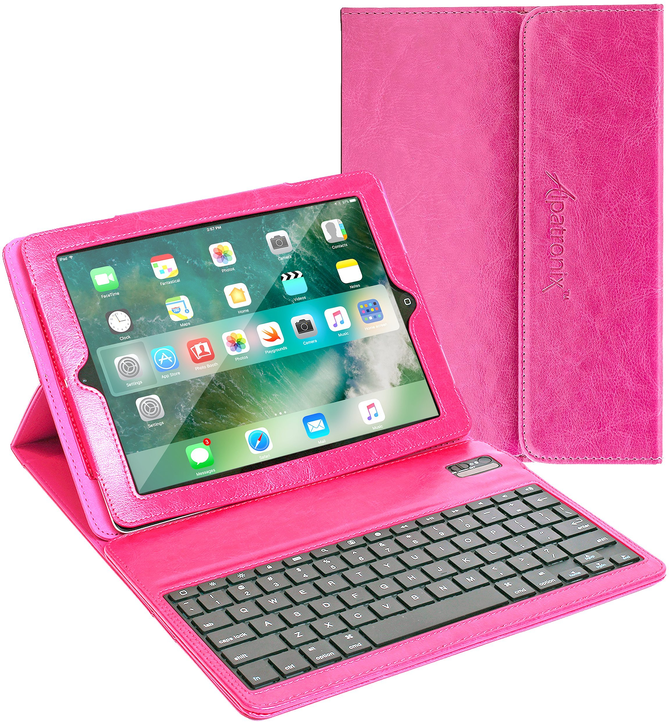 iPad Air/Pro 9.7 Keyboard + Leather Case, Alpatronix KX130 Bluetooth iPad Keyboard Smart Case w/Wireless Keyboard, Folio Protection & Built-in Stand for iPad Air 1, 2, iPad Pro 9.7-inch - (Pink)