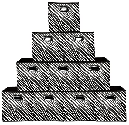 Charmant [10 Pack Zebra Pattern] Large Storage Bins, Containers, Boxes, Tote