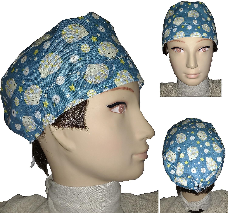 Cappello chirurgico. Ricci. per i capelli corti. Donna. e uomo, chirurgo, dentista, veterinario, cuoco, ecc. Asciugamano sulla fronte, tenditore regolabile sul retro. Handmade Prime