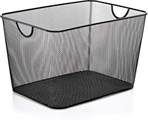 YBM HOME Ybmhome Black Mesh Open Bin Storage Basket Organizer for Fruits, Vegetables, Pantry Items Toys 2268 (1, 15x12x11)