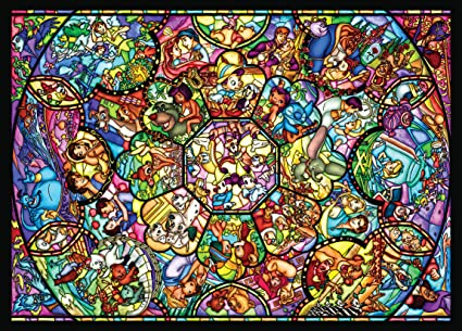 Disney Stained Glass Puzzle.Disney Stained Art Jigsaw Puzzle 500p All Stars Stained Glass D500 457