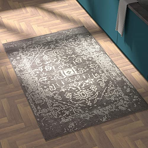 Rivet Charcoal Distressed Medallion Area Rug, 4 x 6 Foot