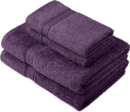 Pinzon by Amazon - Juego de toallas de algodón egipcio (2 toallas de baño y 2 toallas de manos), color morado: Amazon.es: Hogar
