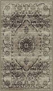 product image for Maples Rugs Distressed Lexington Kitchen Rugs Non Skid Accent Area Floor Mat [Made in USA], 1'8 x 2'10, Neutral