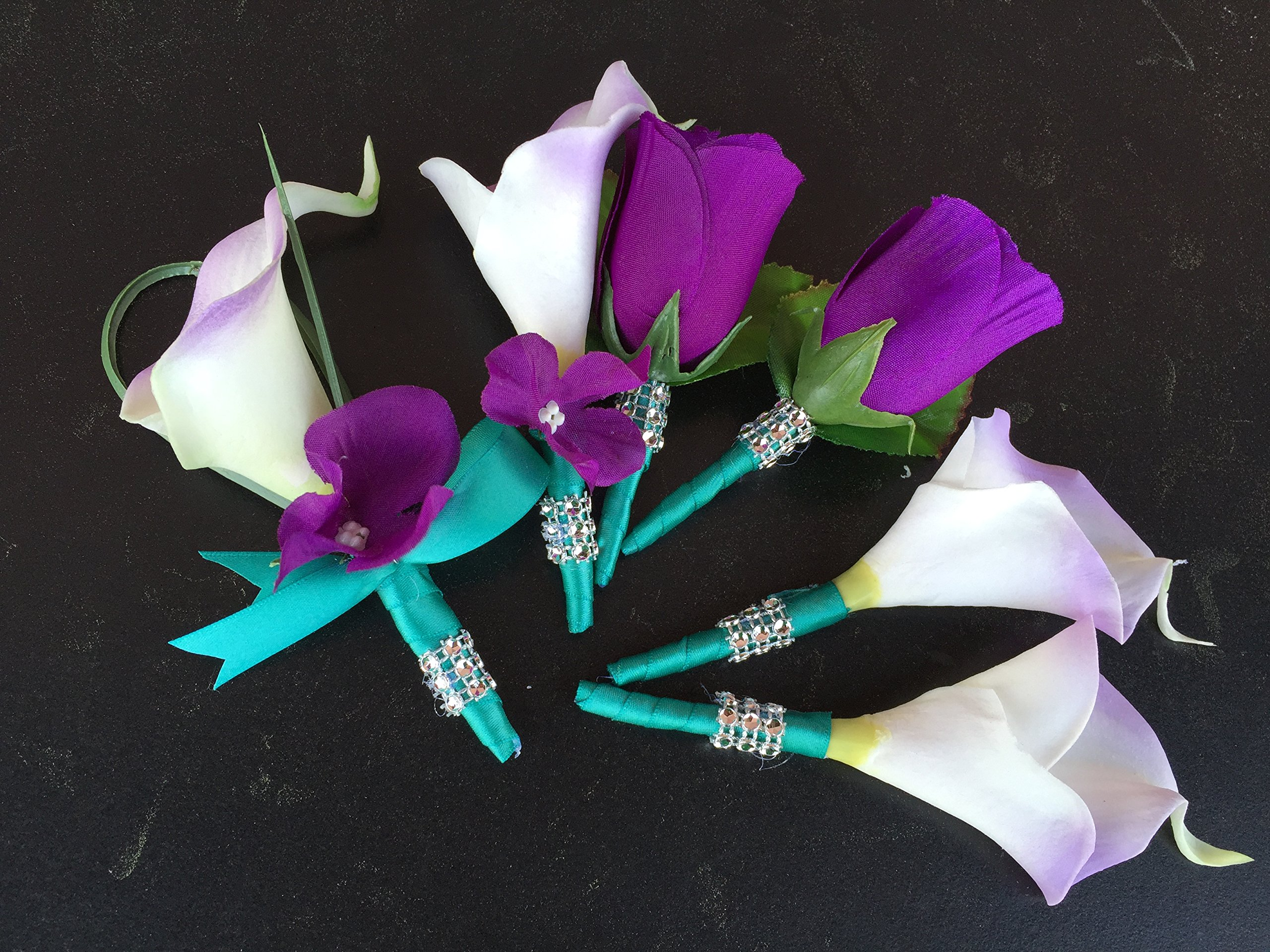 6pcs-Set-of-Boutonniere-Calla-Lily-Hydrangea-Roseartificial-Flowers