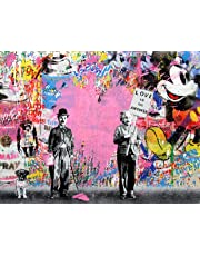 "Orlco Art Graffiti Art Toile Banksy Graffiti Peinture Einstein Art Prints Street Urben Peinture Art Coloré, Rose, 40"" X 28"" (100cm X 70cm) with The Frame"