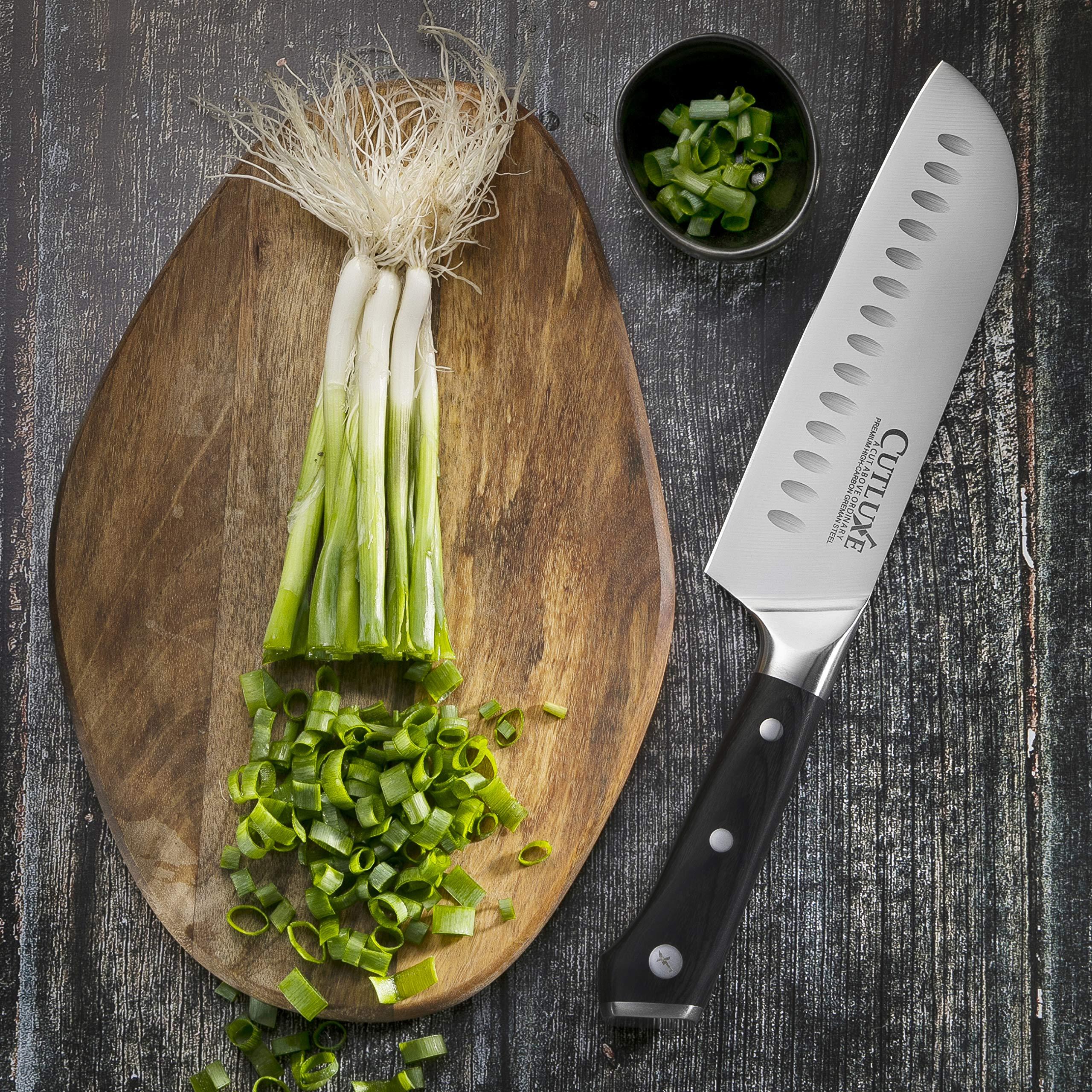Cutluxe Santoku Knife - 7 Inch Kitchen Knife Forged of High Carbon German Steel - Ergonomic Pakkawood Handle - Full Tang Razor Sharp Blade by Cutluxe (Image #6)