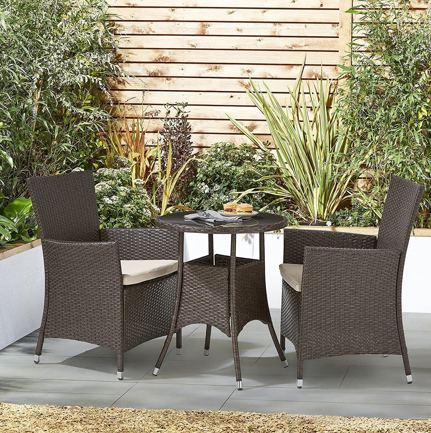 Tesco NEW Corsica Rattan 11 Piece Bistro Garden Dining Table & 11