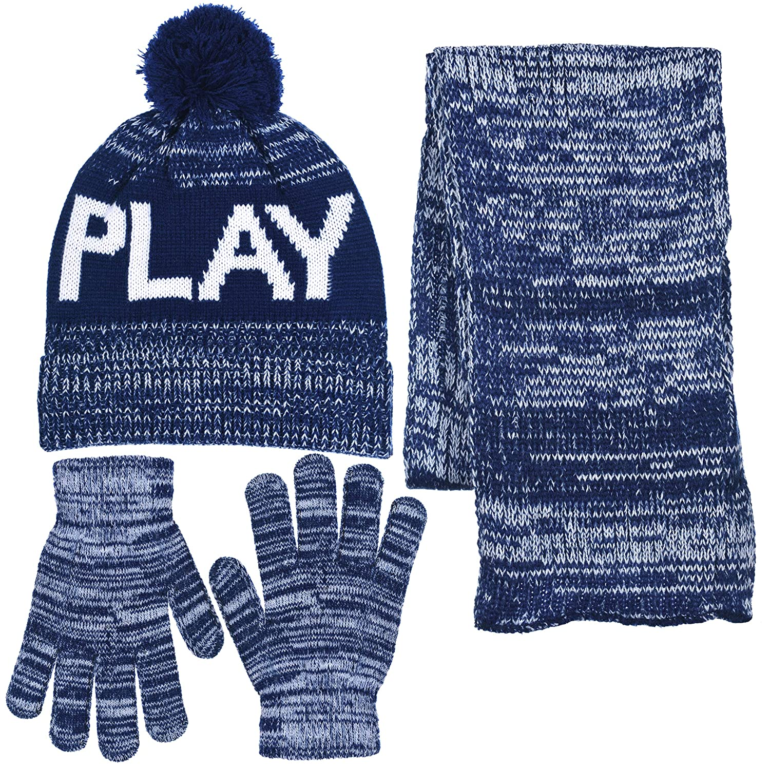 74a67bc7abaae Amazon.com  Boys Personality 3 Piece Knit Cuffed Pom Beanie Scarf   Gloves  Set 3 Colors (Dude - Black   White)  Clothing