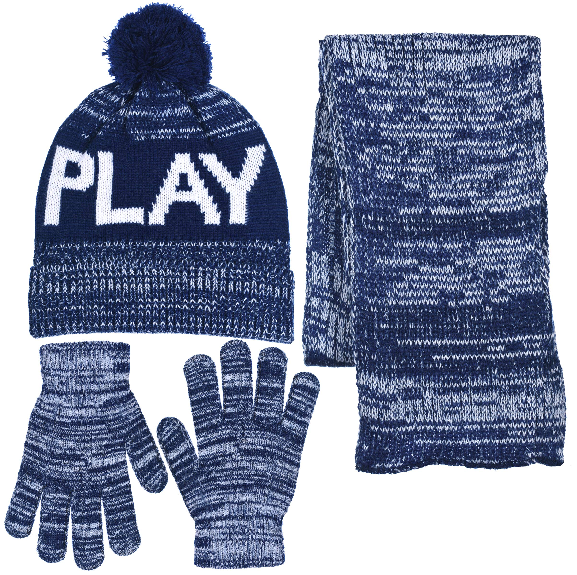 Boys Personality 3 Piece Knit Cuffed Pom Beanie Scarf & Gloves Set 3 Colors (Play - Navy Blue)
