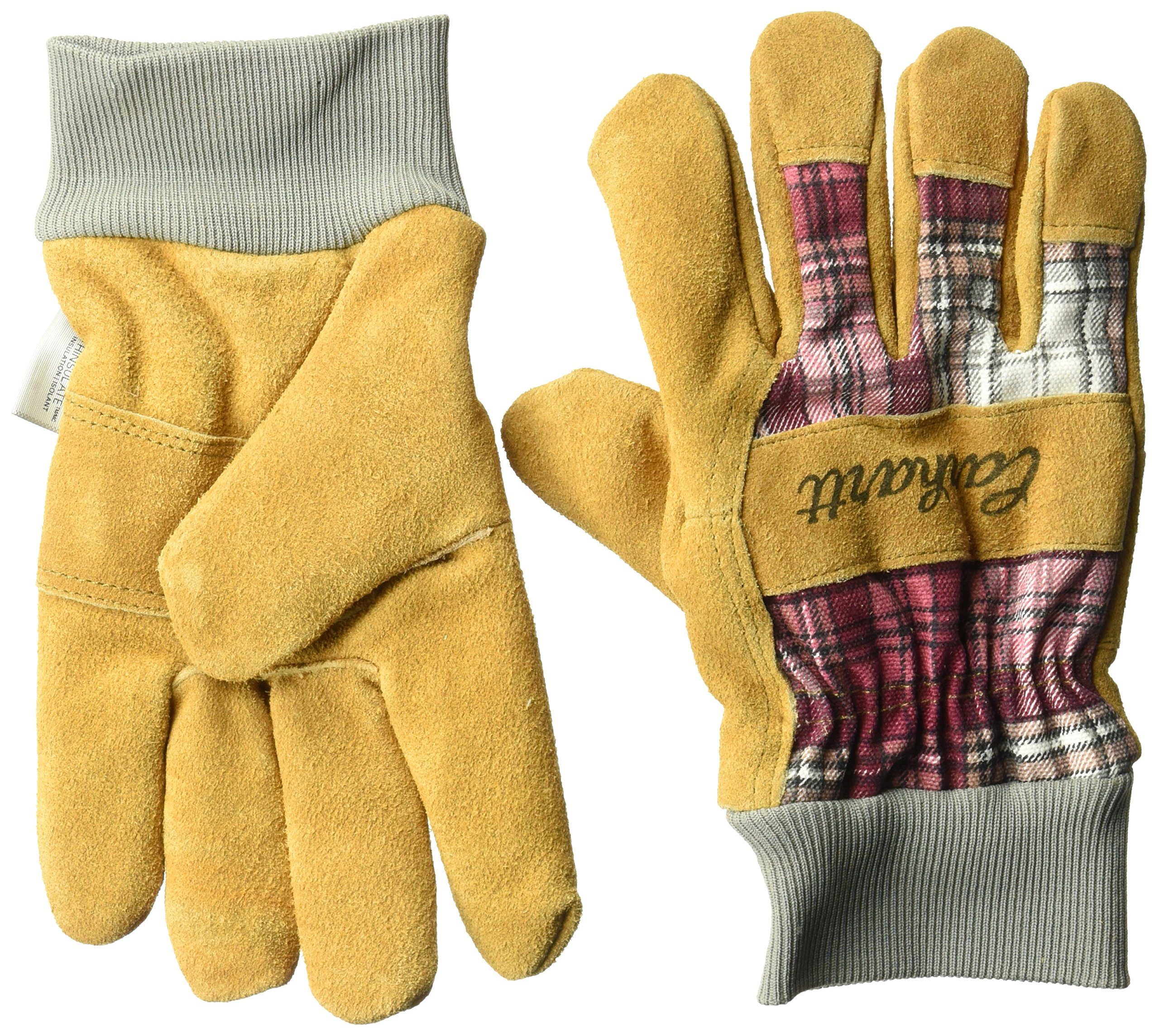Carhartt Women's Insulated Suede Work Glove With Knit Cuff, Wild Rose Plaid, S