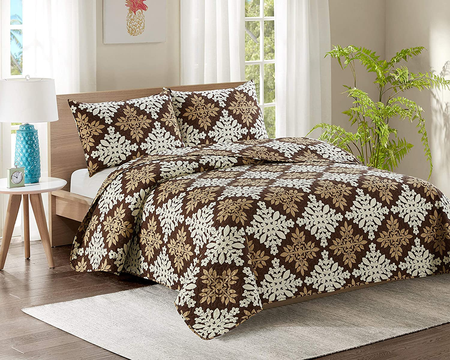 50/% Polyester Quilt YJ1 White Flowers Quilt Throw Polycotton Quilted Bed Throws 100/% Polyester filling with 2 Pillow Coverlet Kiplux Luxury Single Bed Quilted Bedspread 50/% Cotton