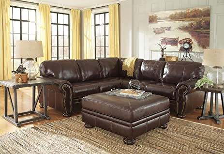 Banner Coffee Color Traditional Classics High-quality Leather Sectional Sofa With Ottoman : traditional leather sectional - Sectionals, Sofas & Couches