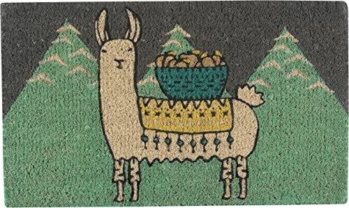 Now Designs Doormat, 18 x 30 in, Llamarama, Green