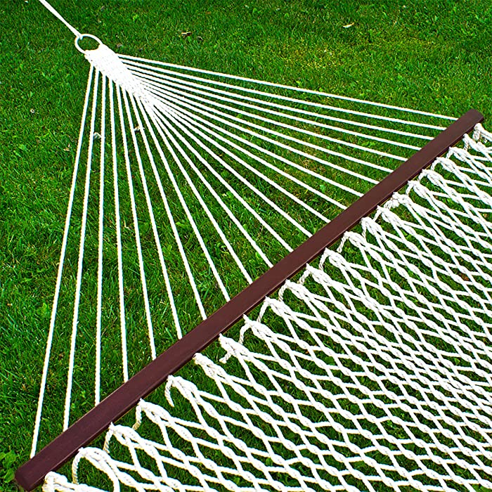 Best Choice Products 2-Person Woven Rope Cotton Double Hammock with Wooden Spreader Bars and Carrying Case, White