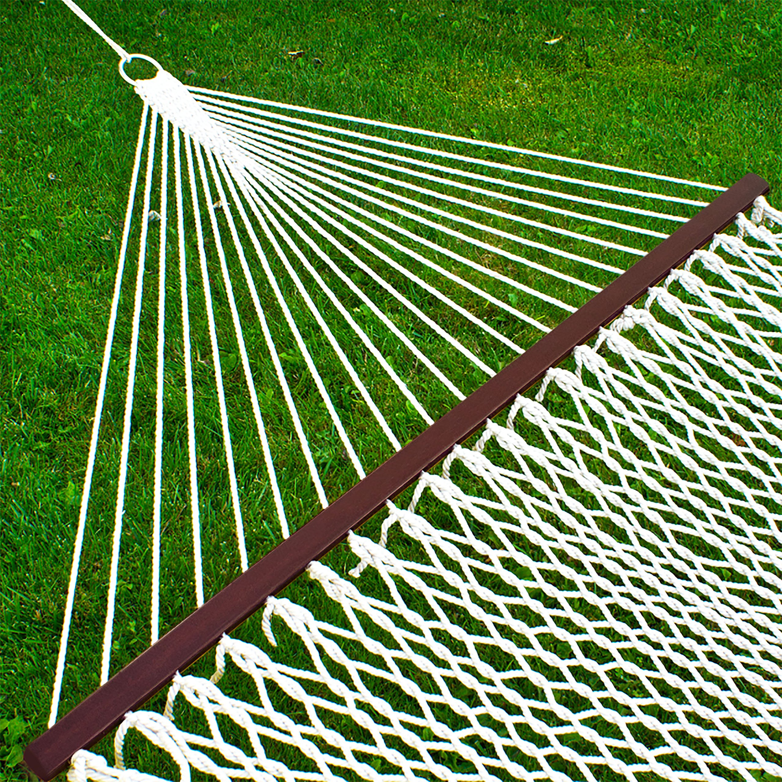 Best Choice Products Woven Cotton Rope Double 2-Person Hammock for Porch, Backyard w/Wooden Spreader Bars, Carrying Case - White