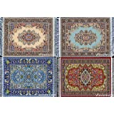 4 Beautiful Floral Drink Coasters – Oriental Carpet Designs – Absorbent Glass Mats