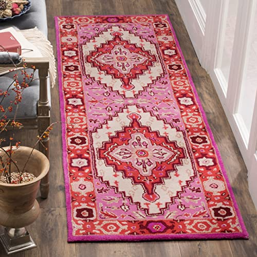 Safavieh Bellagio Collection BLG545A Red Pink and Ivory Bohemian Medallion Runner 2 3 x 7