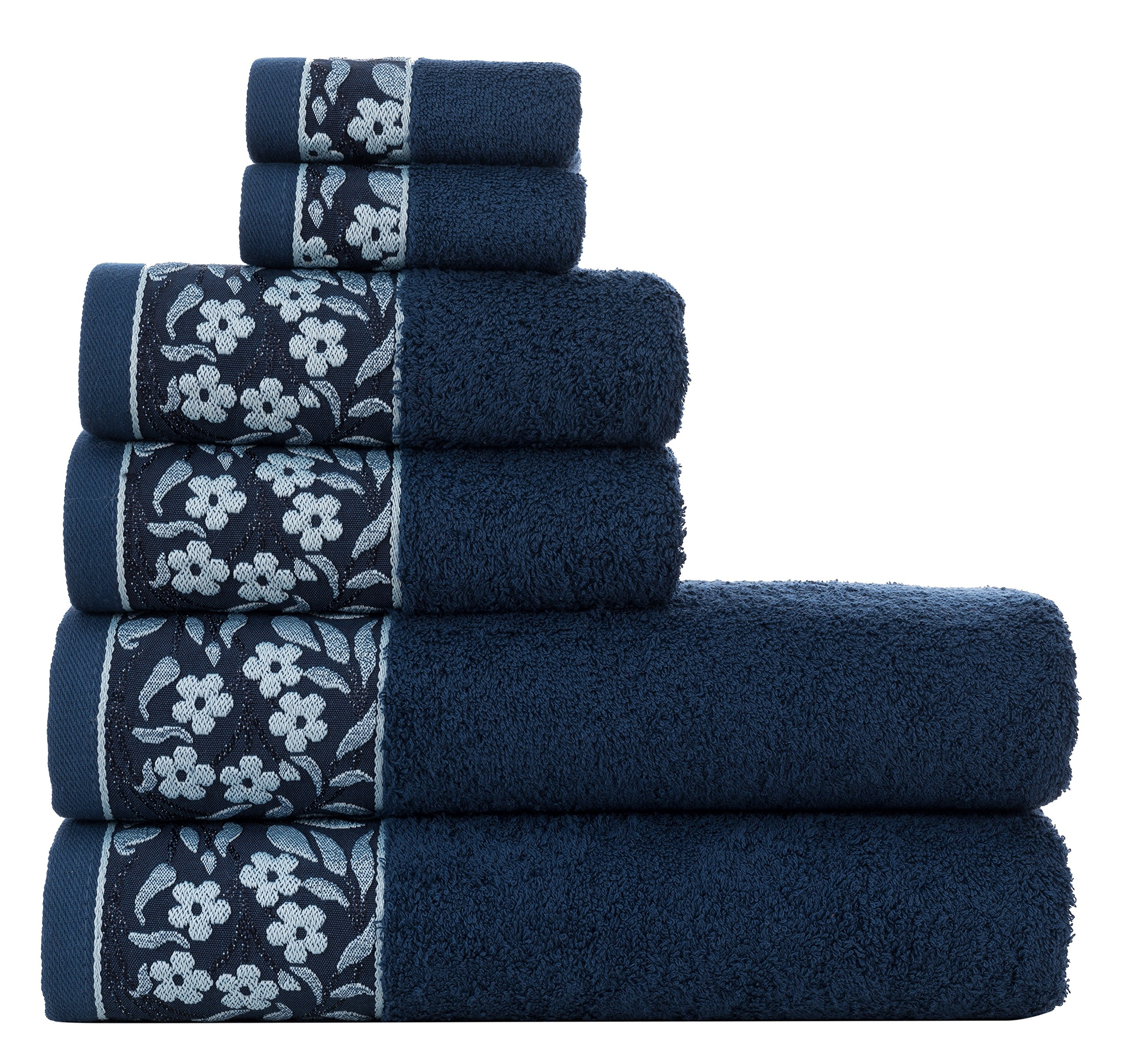 HYGGE Premium Turkish Cotton Towel Set with Floral Jacquard; 2 Bath Towels (27'' x 56''); 2 Hand Towels (19'' x 32''); 2 Washcloths (12'' x 12'')