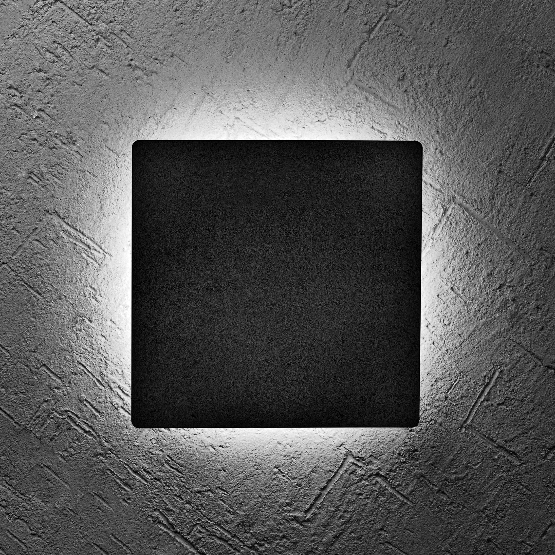 Hyperikon LED Porch Sconce Square Light 6W, Black Modern Wall Mount, 500 lumen, 4000K (Daylight Glow) Outdoor Wall Lamp with Circular Light Beam