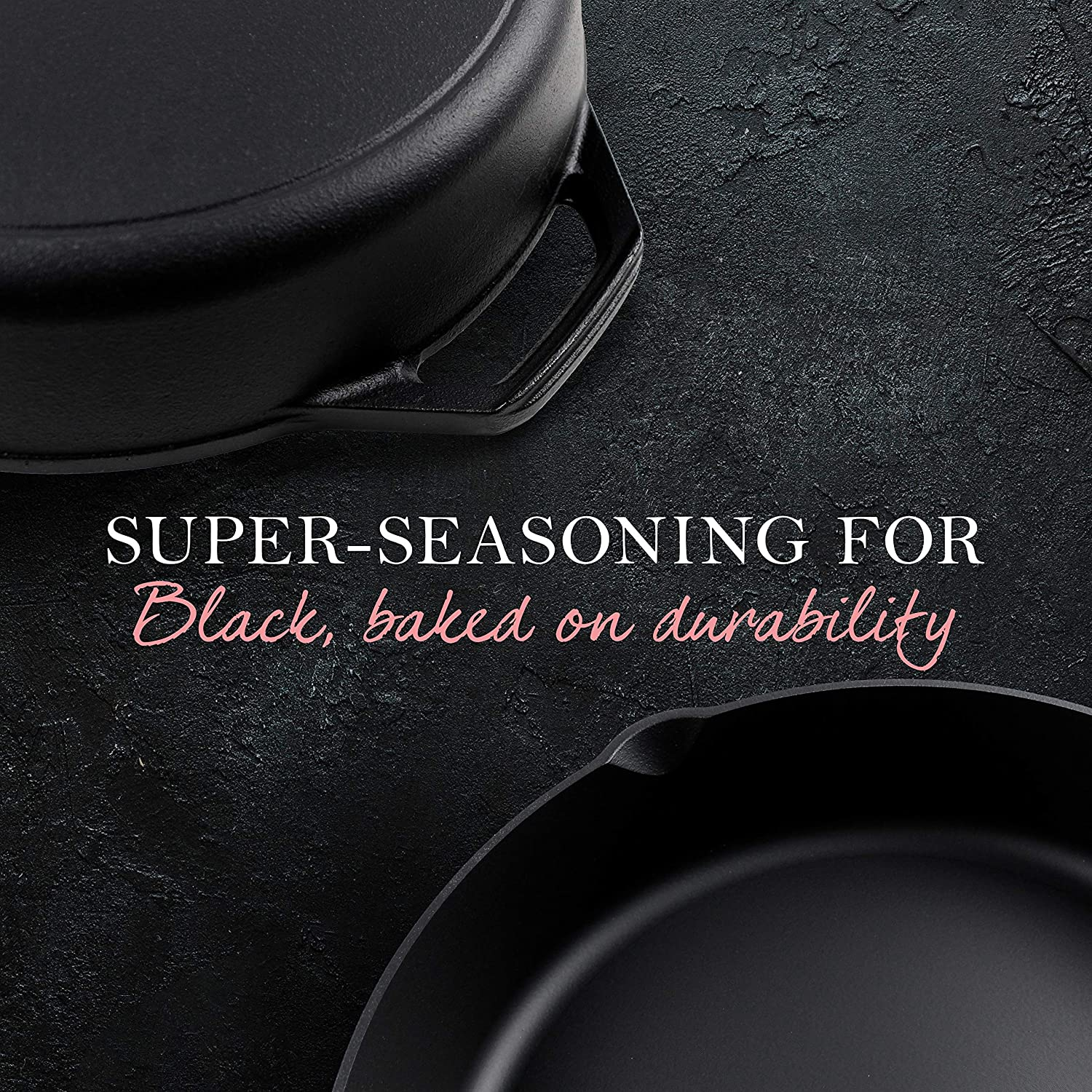 Oven Safe. Fresh Australian Kitchen Super Pre-Seasoned Polished 12 Inch 30cm Camping BBQ Cast Iron Skillet Perfect Pan for Frying