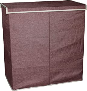 Sodynee Double Closet Laundry Clothes Hamper Sorter Basket Bin with with Magnetic Lid Closure, Coffee Linen