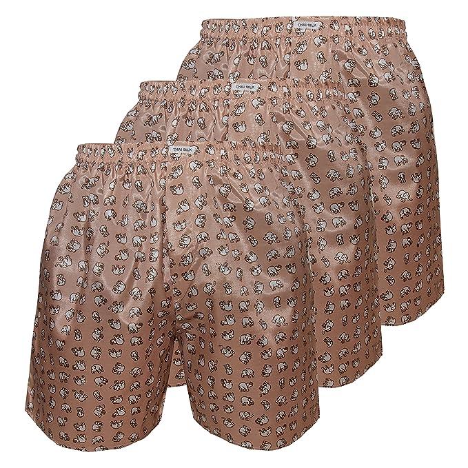 3er Hombre Ropa interior para dormir con comodidad Elefante Thai Silk Boxers (L, Dorado