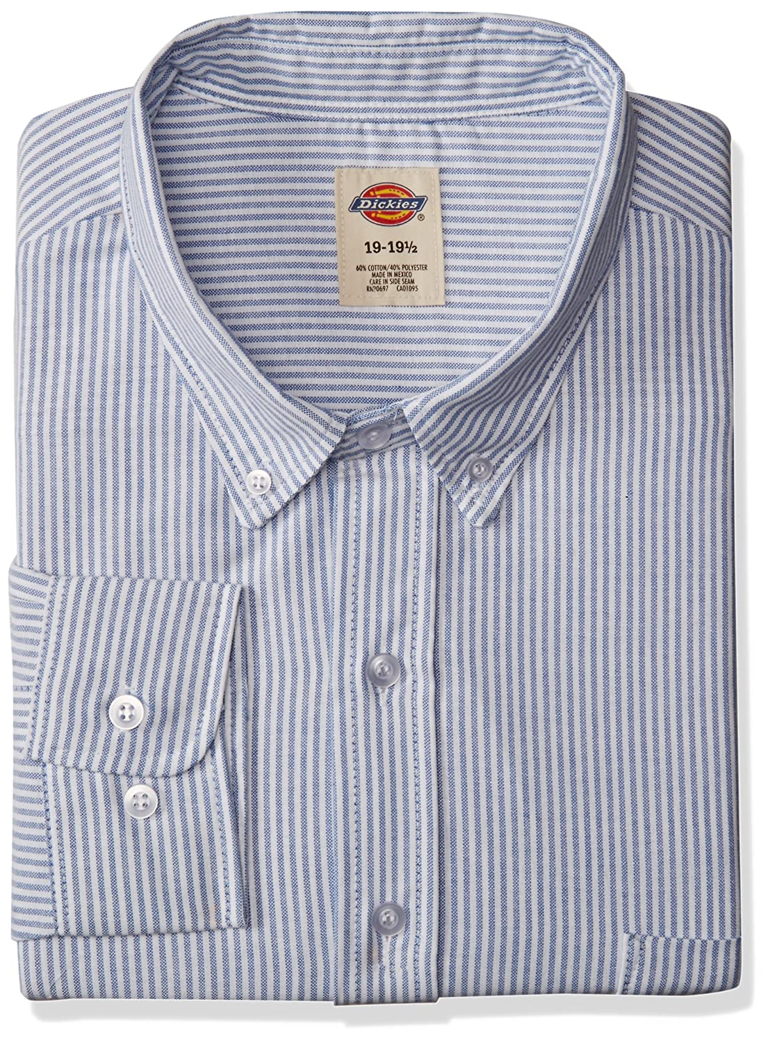6fe5c615 Dickies Occupational Workwear SS36BS Polyester/Cotton Men's Button-Down  Long Sleeve Oxford Shirt, Blue with White Stripe: Amazon.com: Clothing