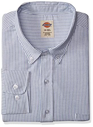 5dd072423f Dickies Men's Button-Down Long Sleeve Oxford Shirt, Light Khaki, 13.5  Regular