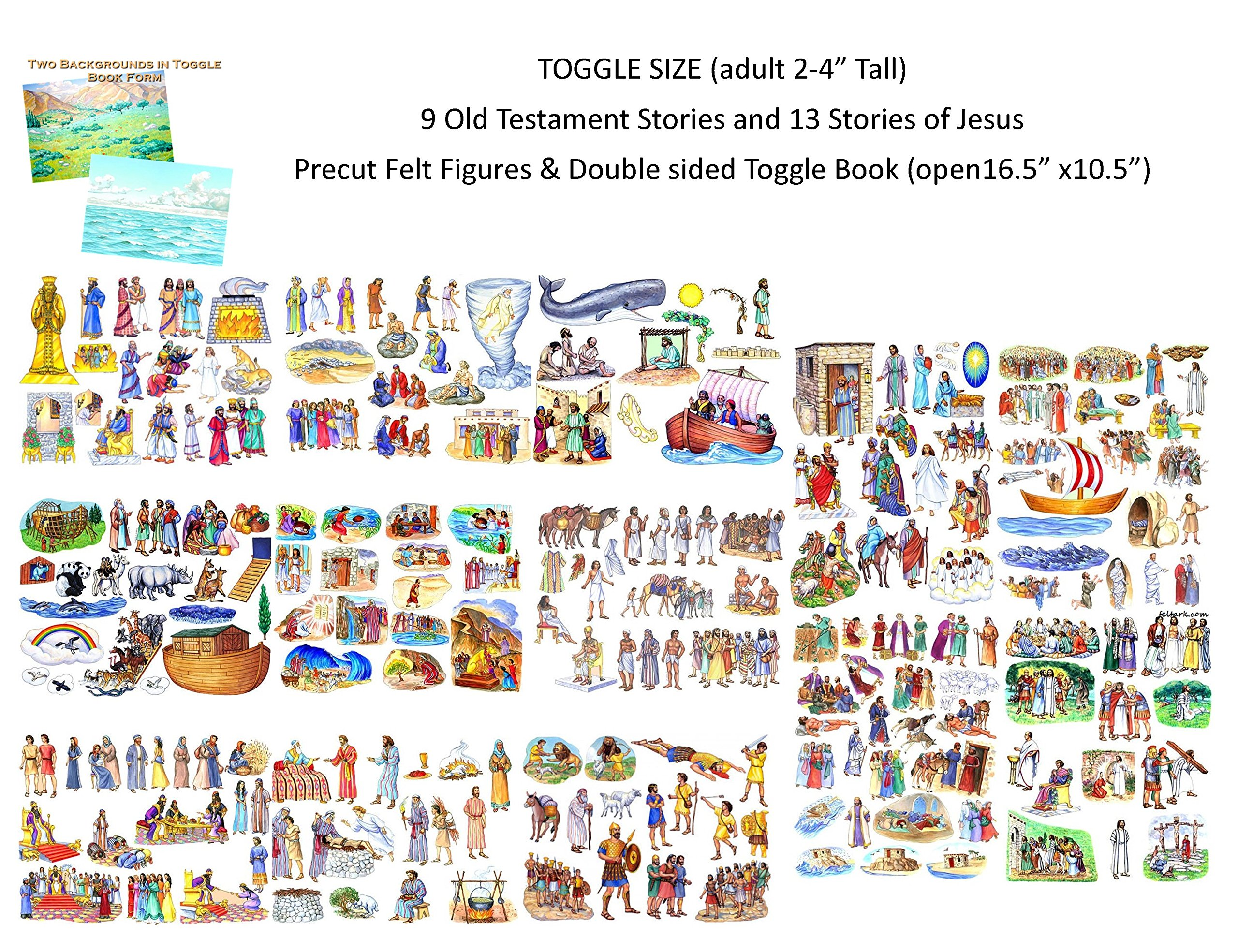 Toggle Size 22 Old & New Testament Bible Stories Set Precut Felt Figures & Flannel Board Book +Lesson Guide Activity Pages Story of Jesus Noah David Daniel Abraham Ruth Esther Moses Job Joseph Jonah